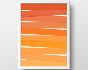 Orange Ombre Abstract Art Print - Colorful Abstract Print - Abstract Printable - Abstract Art - Modern Art - 8x10 Printable - Orange Ombre