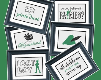 6 Patterns - Peter Pan - Disney - PDF Cross-Stitch Pattern