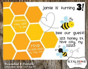 Honeycomb and Bees Birthday Invitation - Personalized - 4x6 or 5x7
