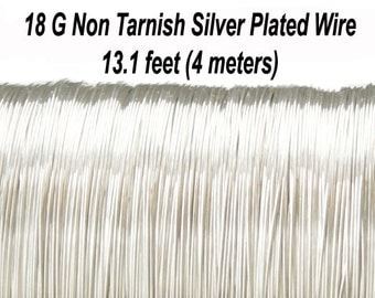18 Gauge (1 mm) Non Tarnish Silver Plated Copper Wire, Hard,  Round, 13.1 feet (4 meters), Made in UK