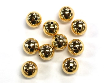 10pc's x 12mm Tarnish Resistant Gold Electroplated Spacer Beads