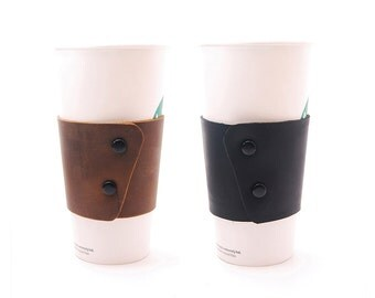 EcoFriendly and Reusable Stoned Oil Leather Coffee Cup Sleeve with Snaps & Can Be Personalized