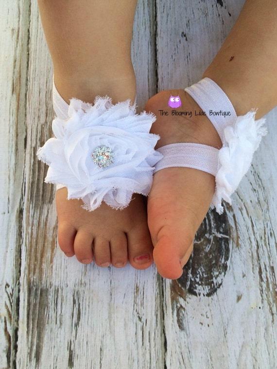 White Baby Barefoot Sandals with Rhinestone Newborn Sandals