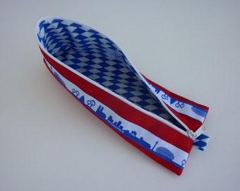 "Zipper Pencil Pouch pencil case ""München"" in red, blue and white"