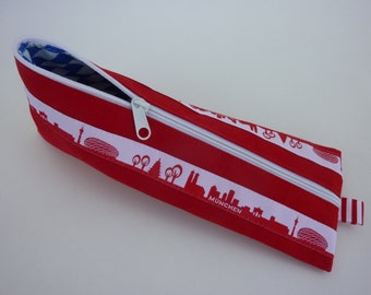 "Zipper Pencil Pouch pencil case ""München"" in red and white"