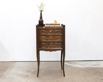 Three Drawer Carved French Side Table with Gallery