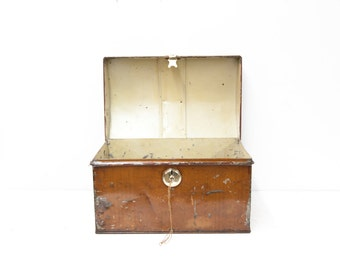 English Dome Top Painted Metal Trunk