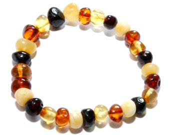 Amber Bracelet, Genuine Baltic Amber Beads  Mixed 17 cm, Stretch Bracelet Authentic, Amber Jewelry, Beaded Bracelet, Adult Bracelet