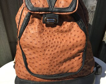 Handmade Leather Ostrich Backpack, Leather Satchel, travel bag, MEDIUM