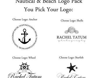 Custom Premade Nautical And Beach Logo Design Pack and Watermark - You Pick Your Design