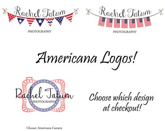 INSTANT DOWNLOAD Custom Premade Americana Logo Design Pack and Watermark - Bulk Pack