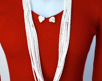 Multi Strand White Seed Bead Long Necklace and Earrings Vintage