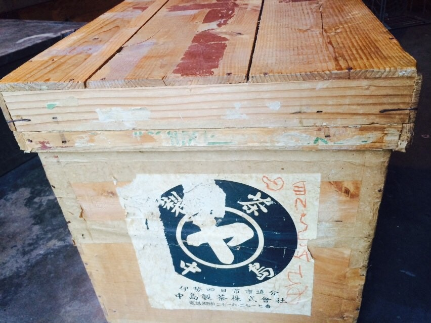 Vintage wooden kimono storage and shipping crate with metal for Metal shipping crate