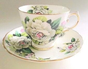 Gardenia Tuscan Tea Cup and Saucer, Tea Cups, Teacups and Saucers, English Bone China Cups, Tea Set, Gardenia Cups, Teacup and Saucer