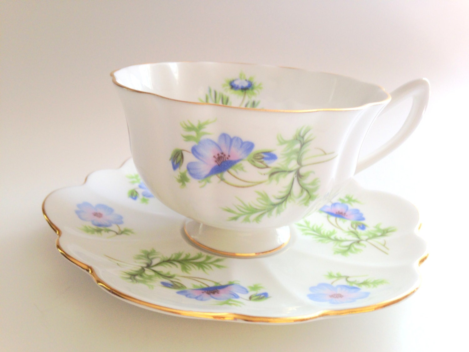 blue poppy shelley tea cup and saucer english bone china. Black Bedroom Furniture Sets. Home Design Ideas