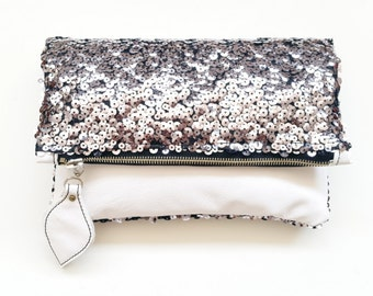 Color block sequins white leather clutch purse, foldover clutch bag, silver white clutch, leather pouch, sequined clutch purse, shining