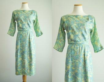 vintage 1950s dress / 50s silk wiggle dress / medium / Lily Pond Dress