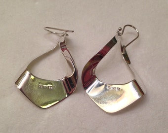 Vintage Sterling Silver Modernist Earrings Signed TH and KS?