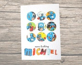 Personalised Captain America birthday card: add any name to this vintage comic book image. Perfect for brother, son, boyfriend.