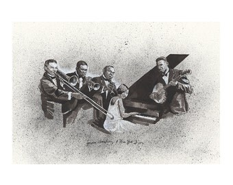 13x19 Limited Edition Print of Louis Armstrong and His Hot Five