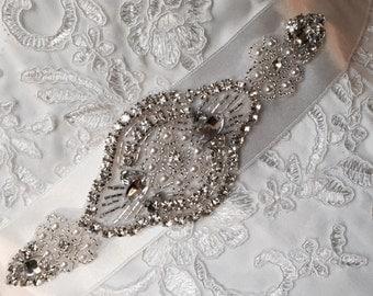 Bridal Sash   Wedding Belt   Appliqué Wedding Belt   embellishment