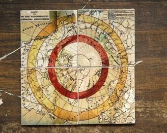 North Pole Map Marble Tile Coasters - Set of 4 // maps // antique // vintage // travel // arctic // unique