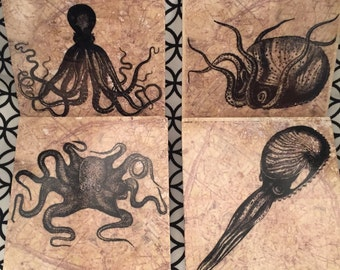 Tentacled Creatures Tile Coasters - Set of 4 // Sea life // Tentacles // Squid // Octopus // Ocean dwellers // cephalopod // map