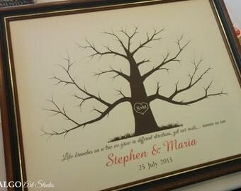 Thumbprint Tree Guestbook, Wedding Fingerprint Tree, Personalized Wedding Guest Book, Wedding Guestbook Alternative, Lacy Tree, Wedding Gift