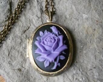 Purple - Lavender Rose (on black) Cameo Bronze Locket - Antiqued Look - Quality - Wedding -Bridesmaid - Unique