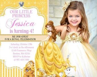 Belle Invitation - Princess Photo Birthday Photo Invitation - PRINTABLE