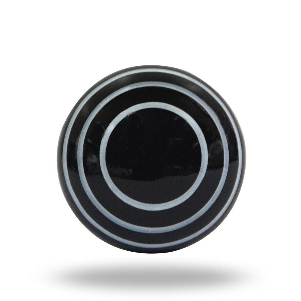 Modern Black Decorative Door Knob With White Stripes Black
