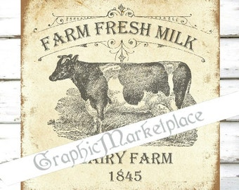 Farm Fresh Milk Square Cow Dairy Large Image Instant Download Vintage Transfer Fabric digital collage sheet printable No. 2016