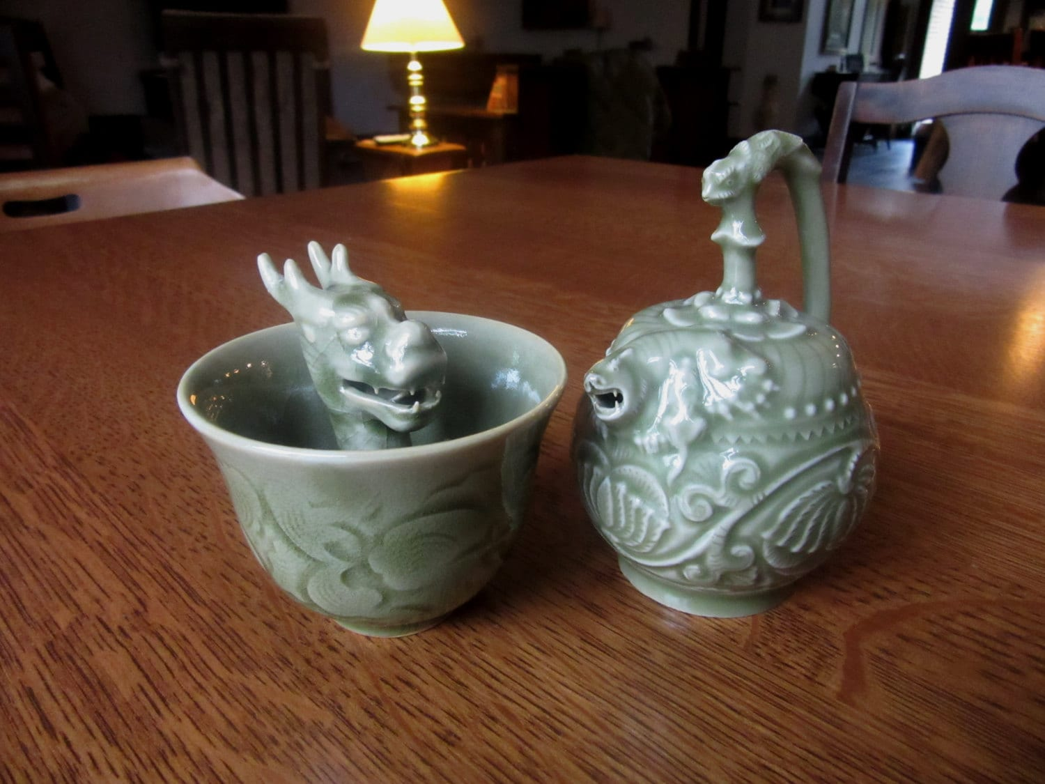 Image result for chinese pot with dragon green