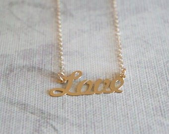 Gold filled LOVE necklace