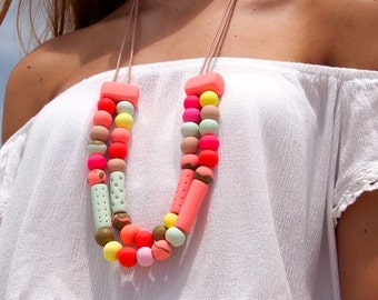 Handmade polymer clay beaded necklace, double strand in mint and fuchsia lollie necklace