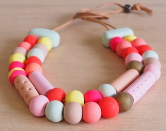Polymer clay necklace, double strand handmade beads, adjustable in peach and mint lollie necklace