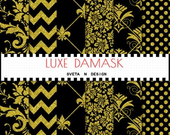 Glitter Gold Damask digital paper with gold glitter damask, gold glitter polkadot and gold glitter chevron patterns