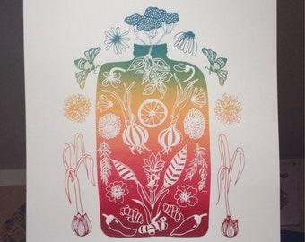 Plant Spirit Medicine #1 (Fire Cider) // Screenprinted Poster // Rainbow // Botanical // Herbalism // 2nd Edition // FREE FIRE CIDER!