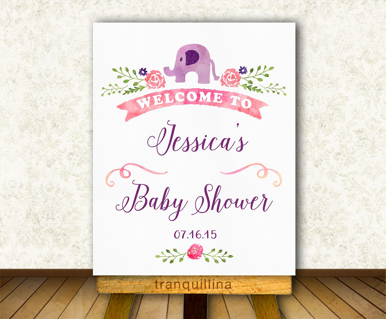 baby shower welcome sign printable elephant welcome sign