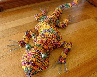 African Beaded Wire LIZARD LARGE Orange Multicolor