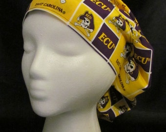 Eastern Carolina ECU Pirates Bouffant Scrub Hat With Banded Front & Toggled Back