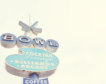 Retro Sign Photography, Vintage Bowling, Pastel Art