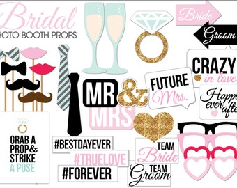 Bridal Shower/Wedding Photo Booth Props Printable PDF-- INSTANT DOWNLOAD