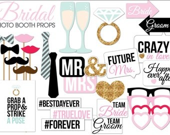 Photo booth props bridal shower Etsy