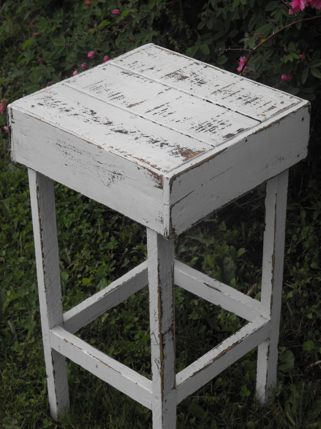 Stool Bedside Table: Chippy Distressed