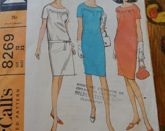 McCall's 8269 Vintage short sleeved dress pattern Size 12