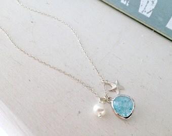 925 Sterling Silver Aquamarine Necklace Starfish Jewelry Pearl Necklace Aquamarine Jewelry march birthstone Bridesmaid Jewelry beach wedding