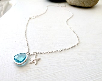 Aqua Necklace Aquamarine necklace 925 Sterling Silver Sand Dollar Starfish sand dollar jewelry Beach Wedding Bridesmaid gifts  blue necklace