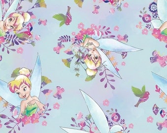 Disney Fabric Tinkerbell Fabric Watercolor Blue From Springs Creative