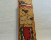 Large wooden painted Memo Clip Sheep watermelon crow flag